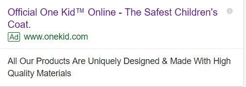 example of good eCommerce google search ad
