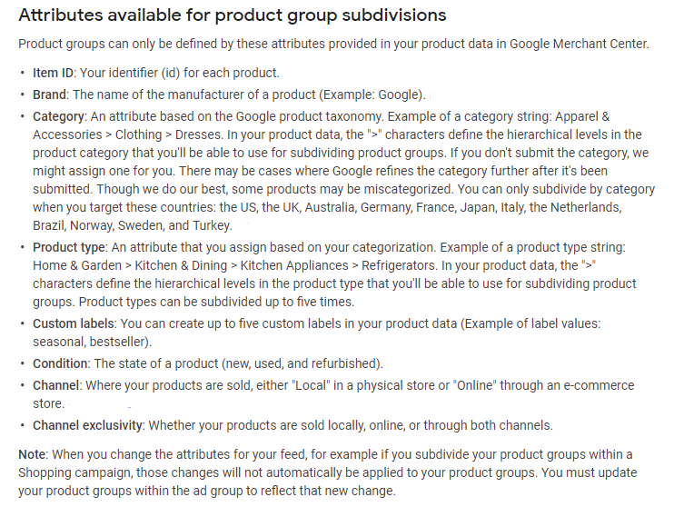 google shopping product groups