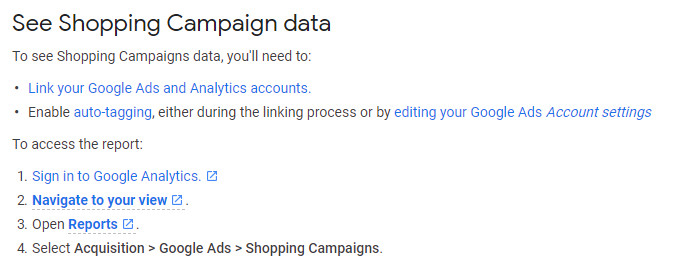 how to see shopping campaign data