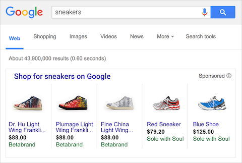 example of google shopping ad