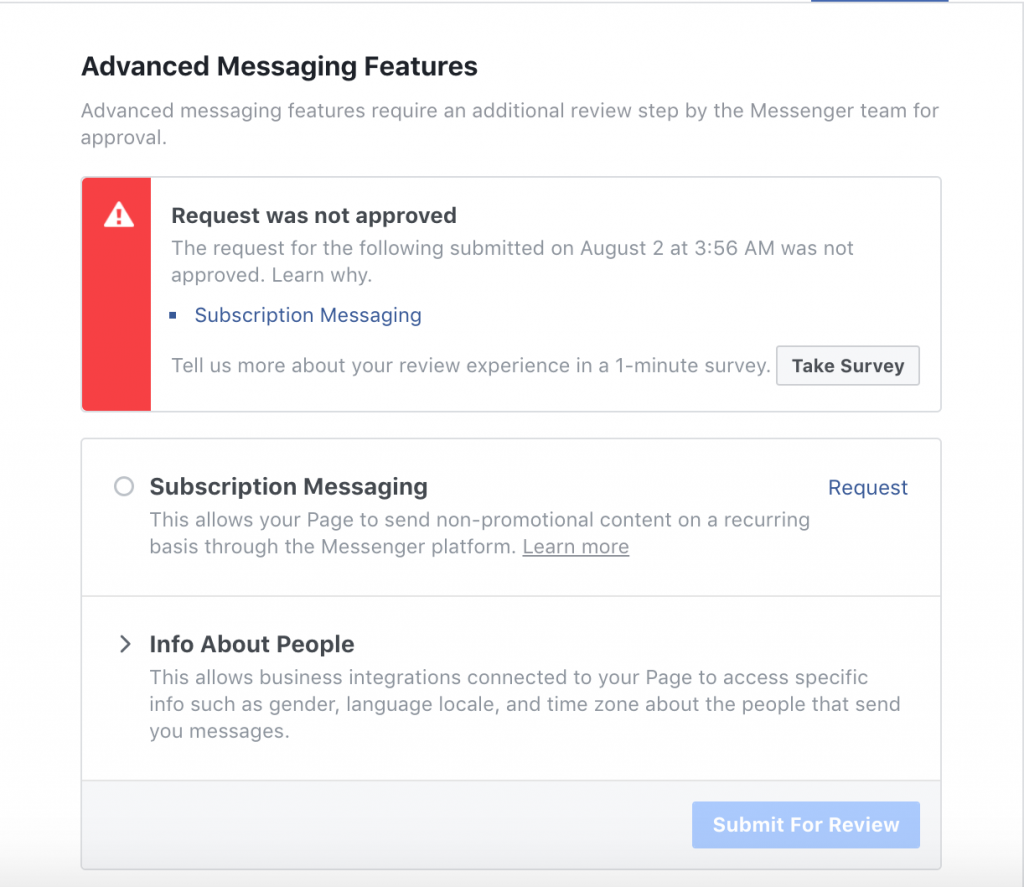 what to do if your messenger subscription application is denied by Facebook