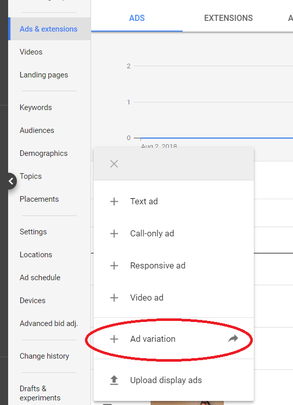 how to find ad variations in google ads