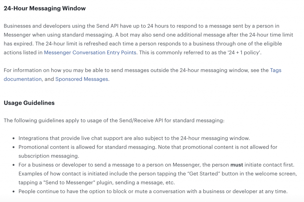 Facebook messenger 24-hour window