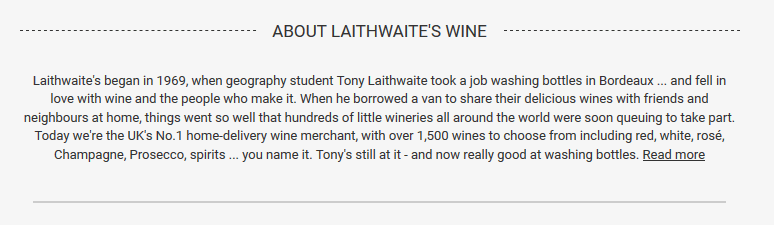 great product description with storytelling from Laithwaites wine