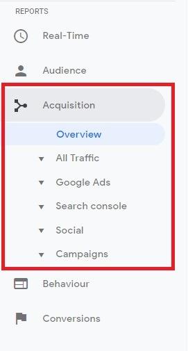 acquisition reports on google anyltics