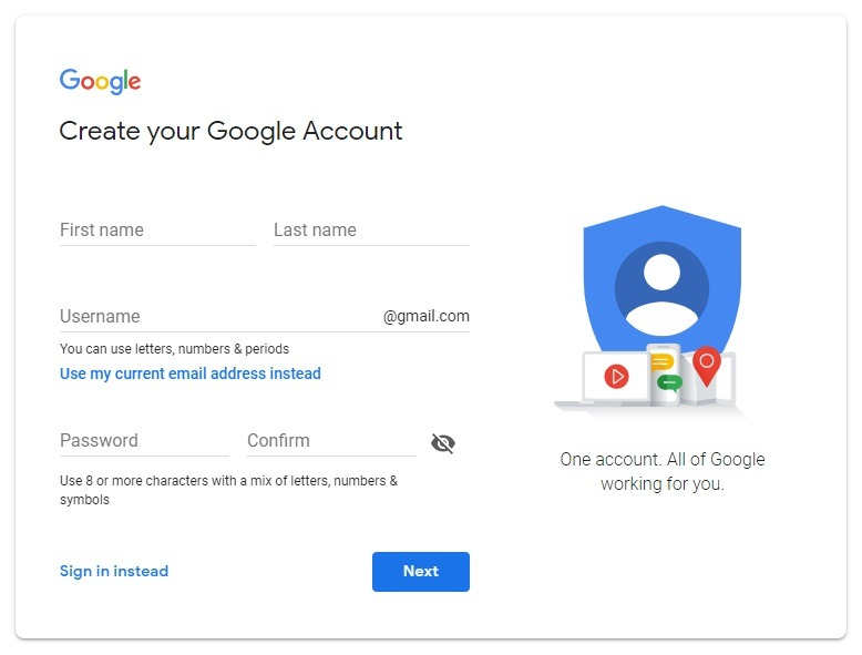 set up a google account