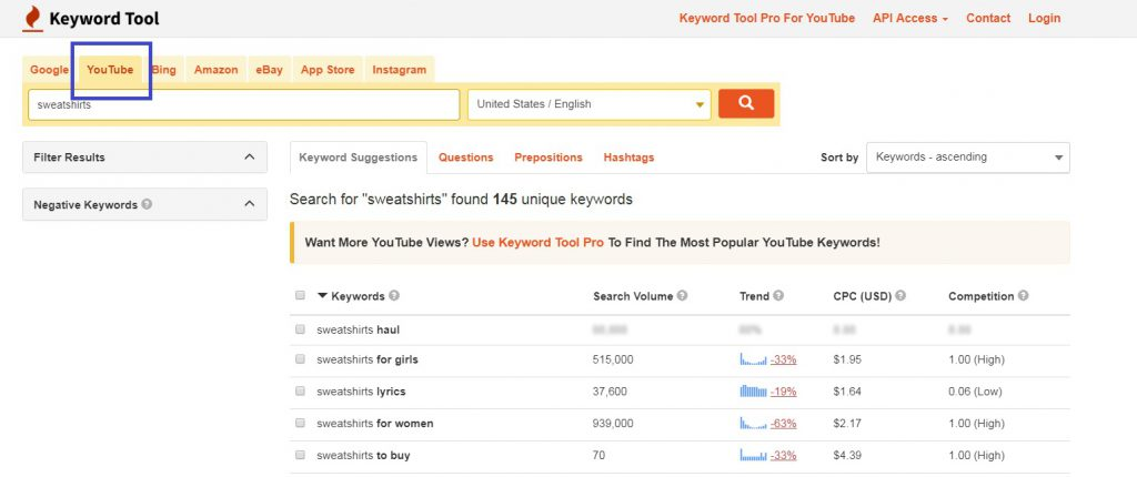 free Keyword tool youtube