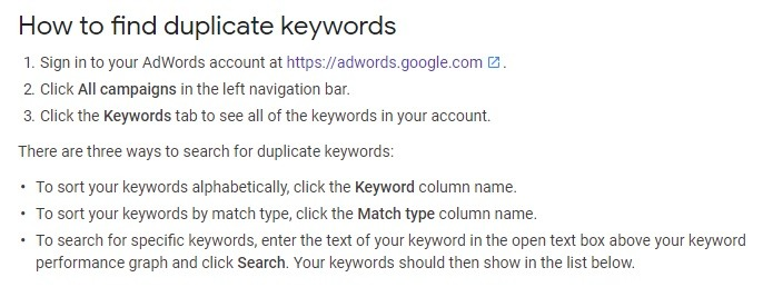 how to find Find duplicate keywords