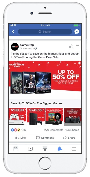 good example of collection ads gamestop