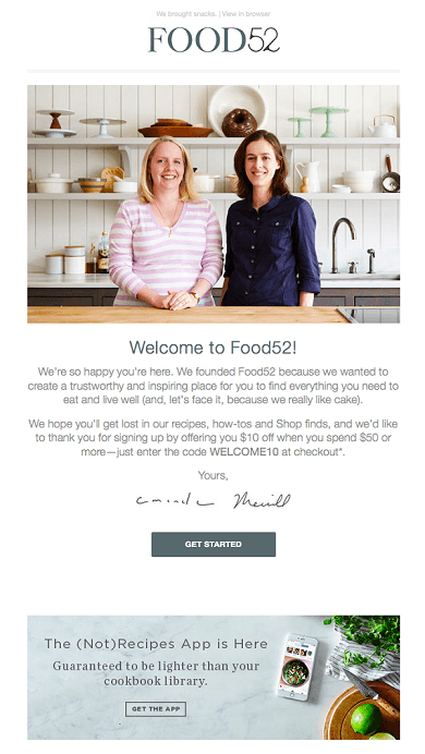 good example of eCommerce welcome email