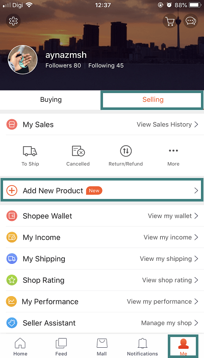Shopee app to sell products