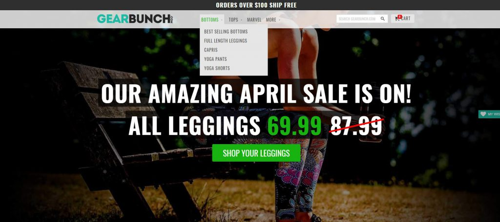 Gearbunch online legging store example