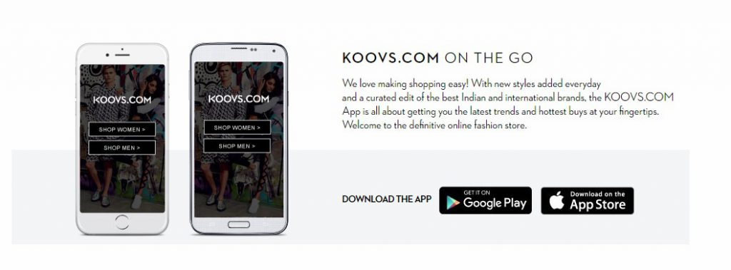 Koovs app for shopping