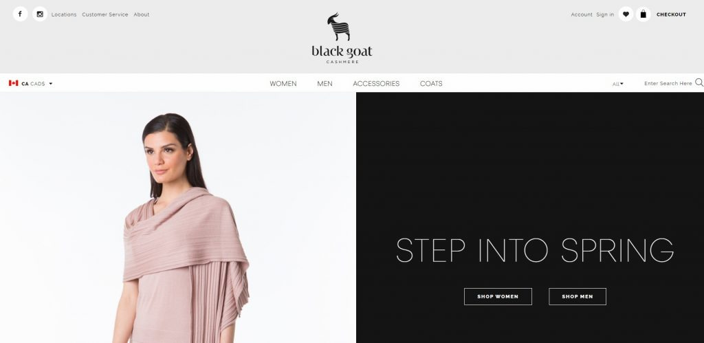 online clothing store example Black Goat Cashmere