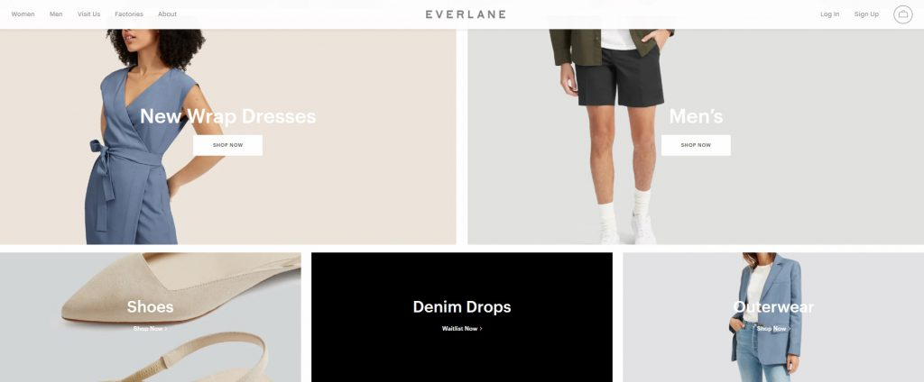 online clothing brand example everlane