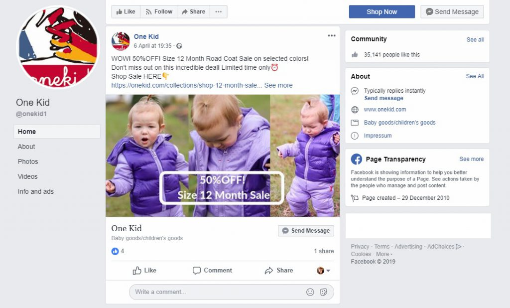 example of Facebook online promotion