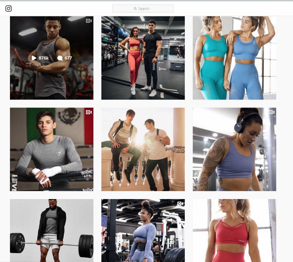 gymshark Instagram account