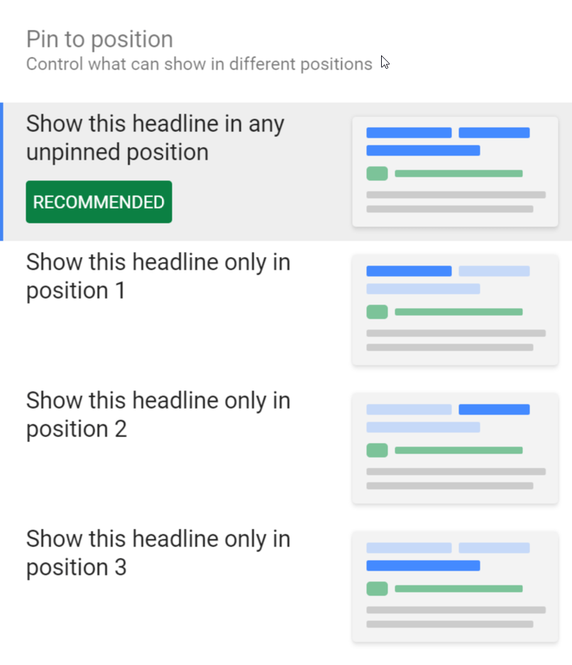 Pinning Headlines and Descriptions in responsive search ads