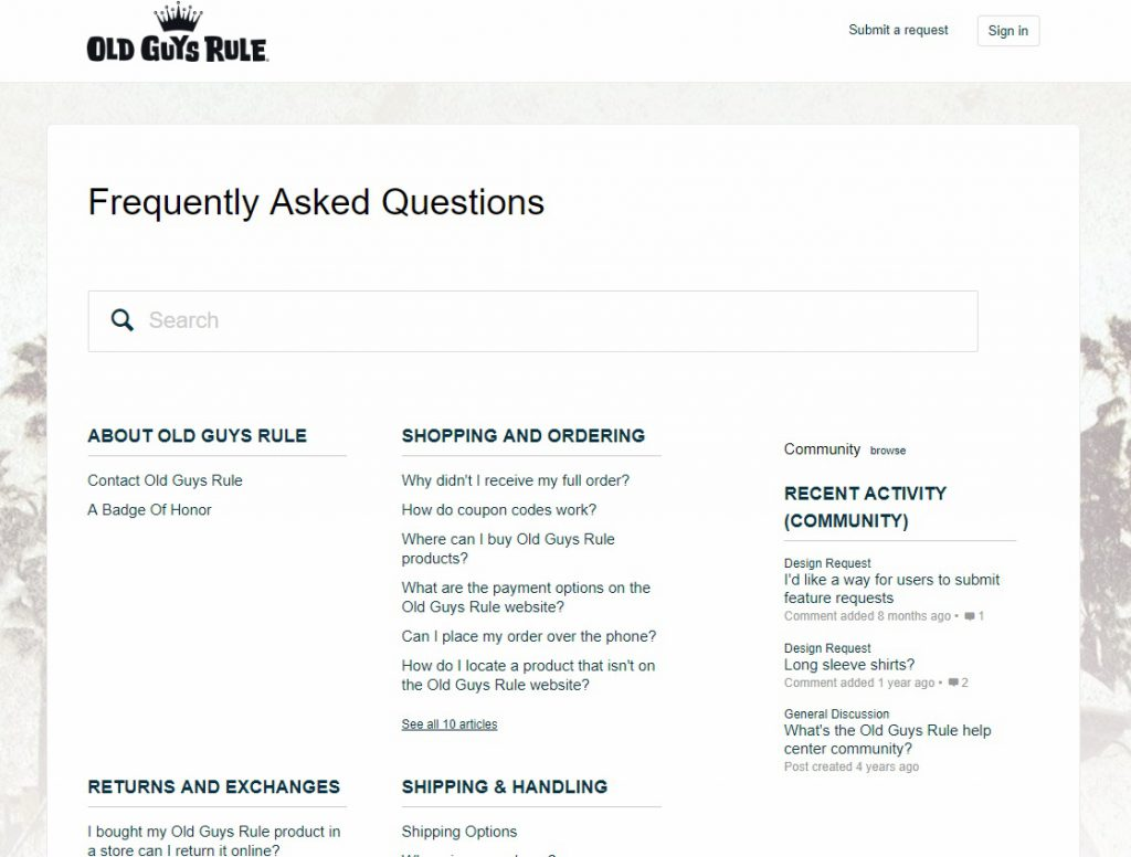 FAQ example pages for eCommerce