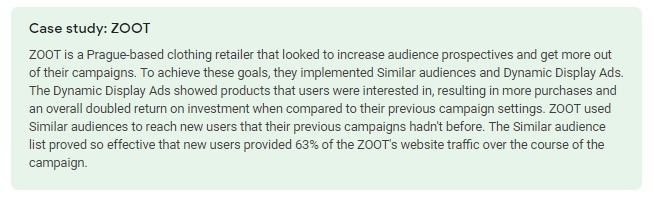 Case study for similar audiences