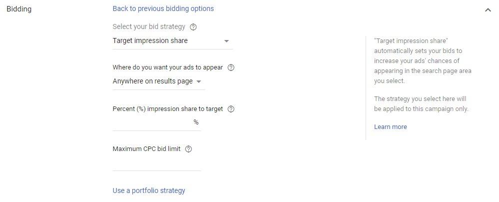 Target impression share bidding strategy