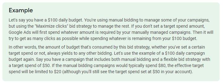 example max clicks bidding google