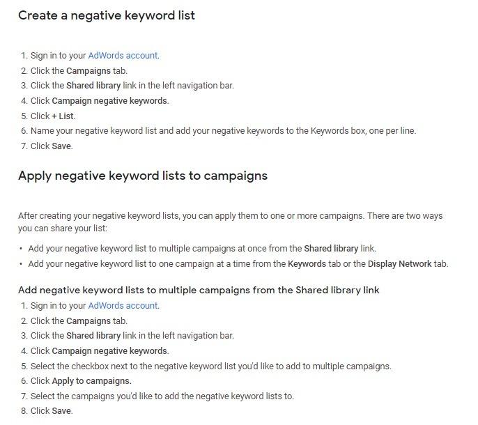 adding Negative Keywords to google