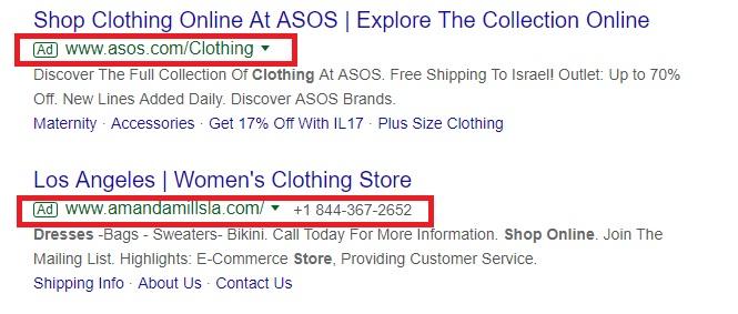 online clothing store display URLS