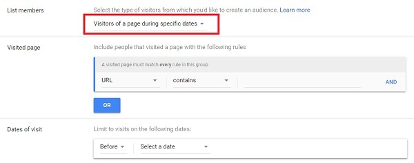 remarketing list of visors of a page during specific dates 2