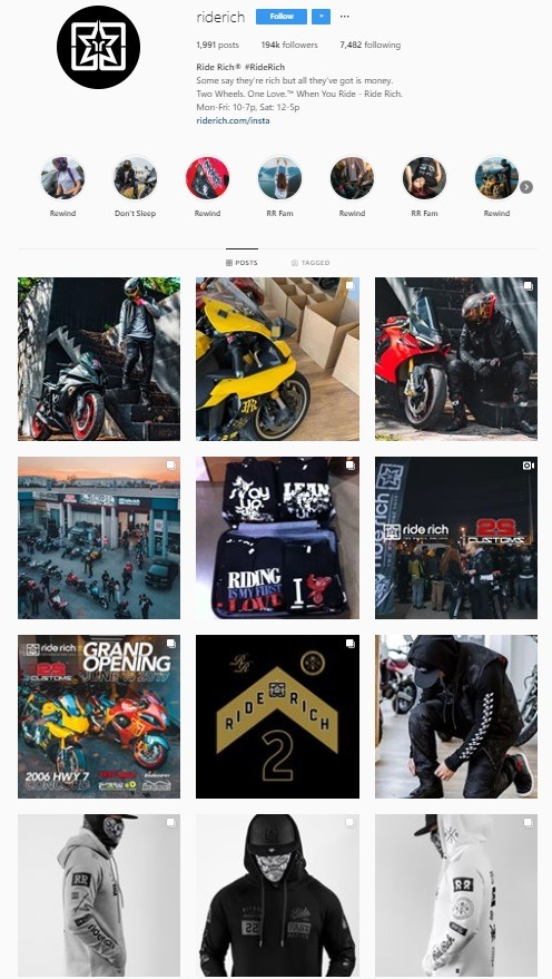 ride rich instagram account example ecommerce
