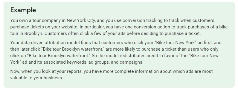 data-driven attribution modeling example google