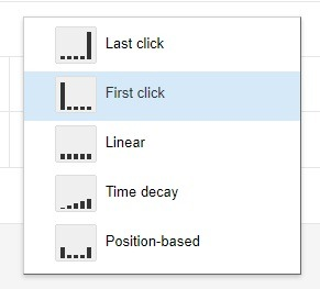 how to select first click attribution google ads