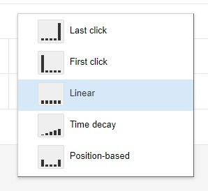 how to select linear attribution google ads
