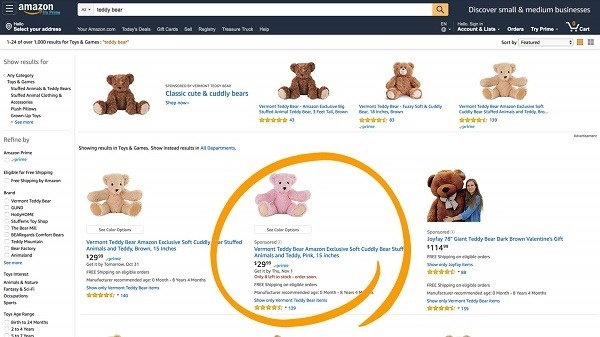 sponsored product ad example amazon