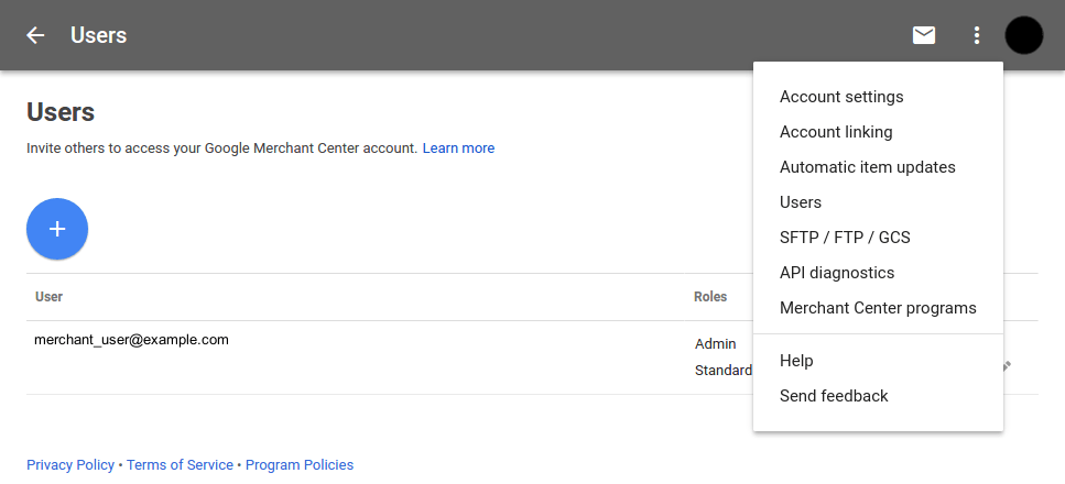 google shopping user settings