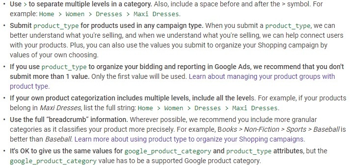 best practices for product feed product types