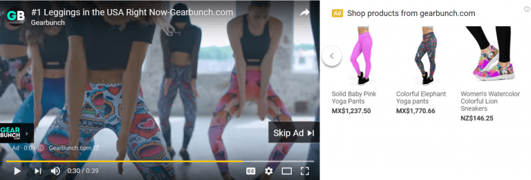 google shopping youtube ad example