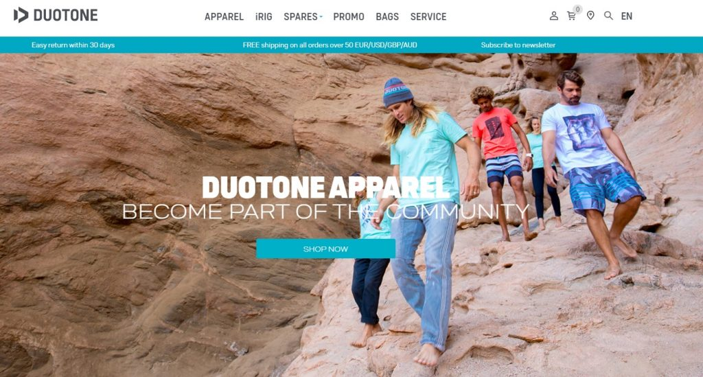 duotone ecommerce apparel store example