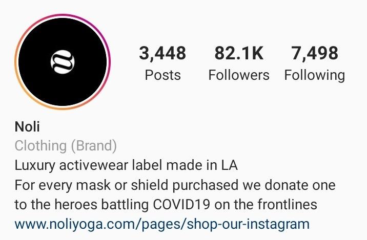 Noli Yoga ecommerce Instagram bio example
