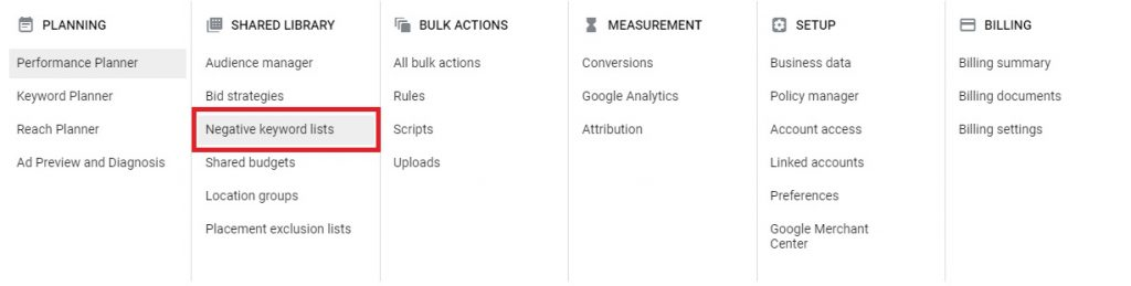 how to build negative keywords google