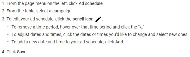 how to edit ad schedule Google