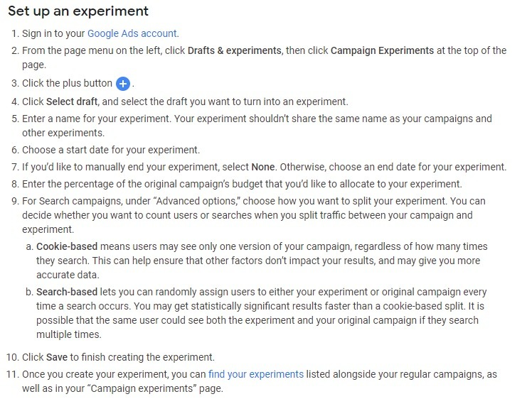 how to set up an experiment google campaign