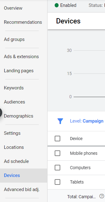device setting google ads
