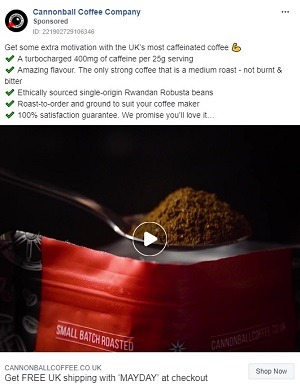 eCommerce facebook video ad example cannonball coffee