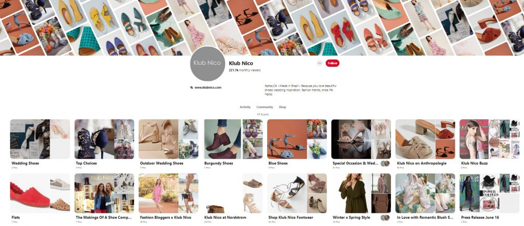 Kub nic ecommerce pinterest account example