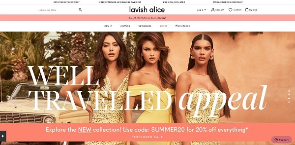 Lavish Alice eCommerce clothing store example