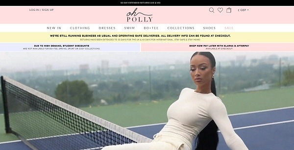 Oh Polly a label eCommerce clothing store example