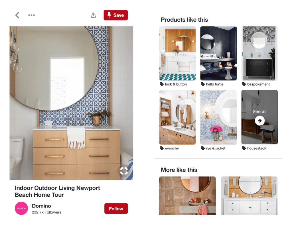 shopping products on pinterest
