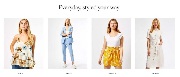 dorothy perkins eCommerce clothing store example