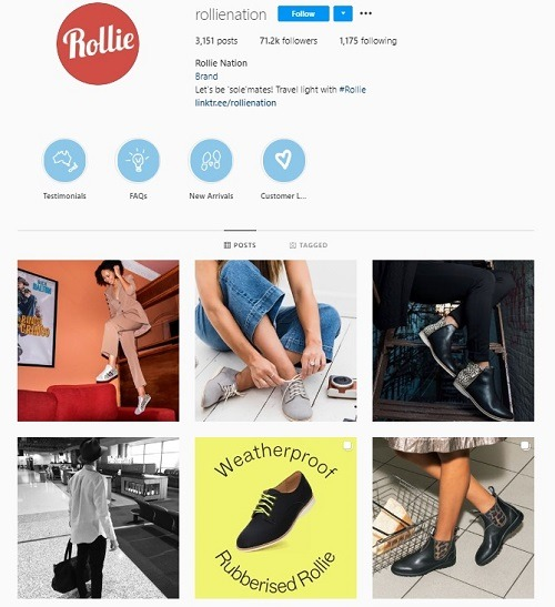 ecommerce instagram account rollie anation